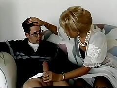 Blonde milf buttsex with young man