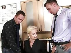 Granma sucks and fucks two cocks at job interview