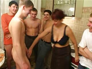 Birthday boy fucks his friend's mom with fellows
