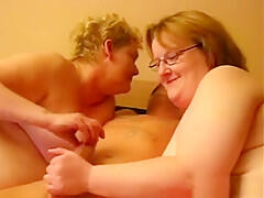 Ela and Ina wanking off his cock